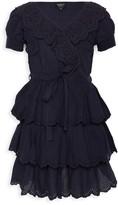 Bardot Junior Girl's Cindy Ruffle Lace-Eyelet Tie-Waist A-line Dress
