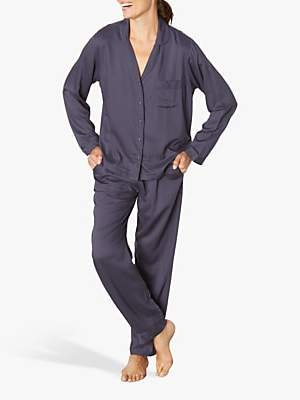 Jigsaw Luxe Herringbone Pyjamas, Navy