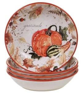 Certified International Harvest Splash Soup/Pasta Bowl, Set of 4