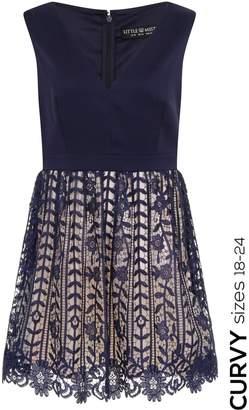 Little Mistress Curvy Navy Crochet Lace Plunge Mini Dress