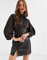Asos Design DESIGN midi pencil dress in croc pu and high neck satin top