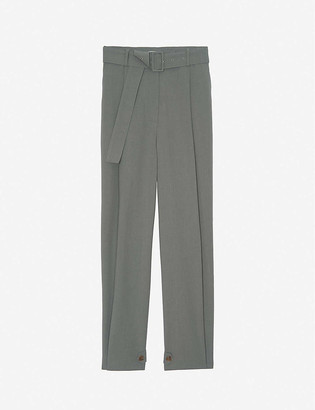 Frankie Shop Elvira belted high-rise tapered crepe trousers