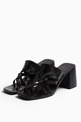 Topshop VICE Black Cut Out Mule Sandals