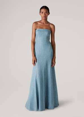 St. John Inlay Sparkle Knit Strapless Gown