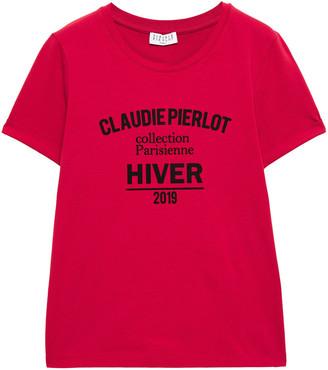 Claudie Pierlot Flocked Stretch-cotton Jersey T-shirt
