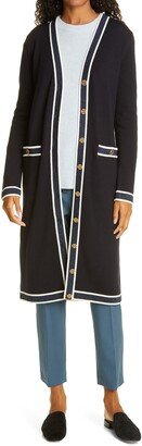 Tory Burch Metallic Trim Long Merino Wool Cardigan