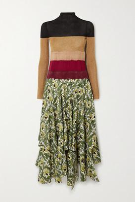Loewe Needle Punch Asymmetric Ribbed-knit, Felt And Printed Silk-twill Dress - Yellow