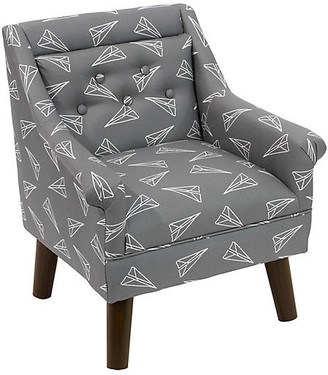 One Kings Lane Bella Kids' Accent Chair - Gray Planes Linen - frame, espresso; upholstery, gray/white
