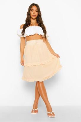 boohoo Cheesecloth Tiered Ruffle Skater Skirt
