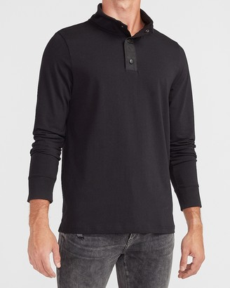 Express Solid Mock Neck Performance Long Sleeve T-Shirt