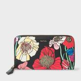 Paul Smith Women's Large 'Wild Garden' Print Leather Zip-Around Purse