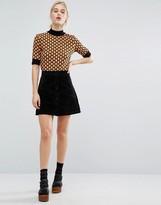 Monki Real Suede Mini Skirt
