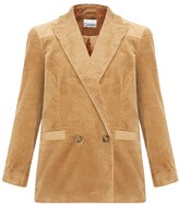 Ganni Double-breasted Cotton-corduroy Blazer - Womens - Camel