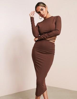 Asos Design ASOS LUXE long sleeve strappy rib midi dress in chocolate