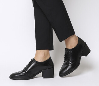Office Maybelle Brogue Block Heel Shoes Black Leather