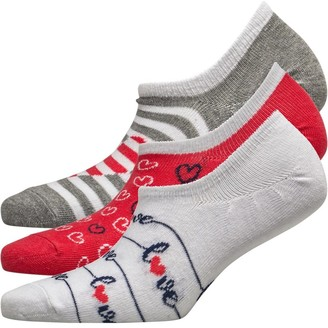 Lovestruck Womens Three Pack High Cut Footsie Socks Love Stripe White