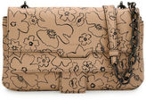 Tomas Maier T Floral Matte Leather Crossbody Bag