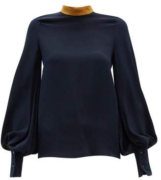 Roksanda Cala Balloon-sleeve Crepe Blouse - Womens - Navy Multi