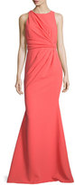 Badgley Mischka Sleeveless Gathered-Waist Gown, Coral