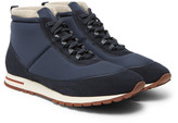 Loro Piana Voyager Weekend Walk Cashmere-Lined Suede and Neoprene High-Top Sneakers