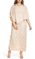 Decode 1.8 Plus Size Women's Decode Poncho Over Floral Lace Dress