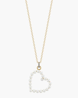 Jemma Wynne Pearl and Diamond Heart Pendant Necklace
