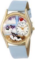 Whimsical Watches Kids' C0110008 Classic Gold Bunny Rabbit Baby Blue Leather And Goldtone Watch