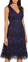 Adrianna Papell Natalia Lace A Line Midi Dress, Navy/Black