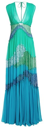 Alberta Ferretti Colorblocked Lace Gown