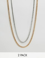 Asos Midweight Chain 2 Pack In Gold And Silver