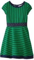 Us Angels Striped Ottoman Short Sleeve w/ Embroidery Waist & Full Skirt (Little Kids)