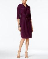 NY Collection Petite Drawstring Shirtdress
