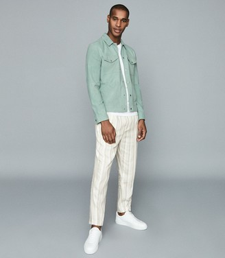 Reiss Sakura - Suede Trucker Overshirt in Peppermint