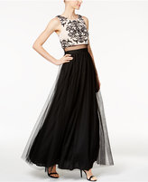 Betsy & Adam Petite Illusion 2-Pc. Lace Gown