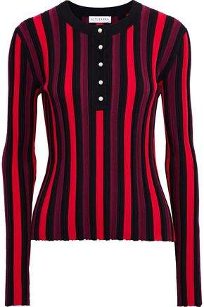 Altuzarra Faux Pearl-Detailed Ribbed Striped Stretch-Knit Top