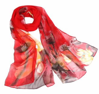 Doldoa Women's Scarfs Sale Lightweight Lotus Print Soft Shawl Scarves for Women(A)