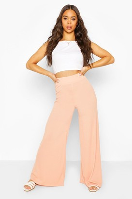 boohoo Extreme Wide Leg Ribbed Trousers