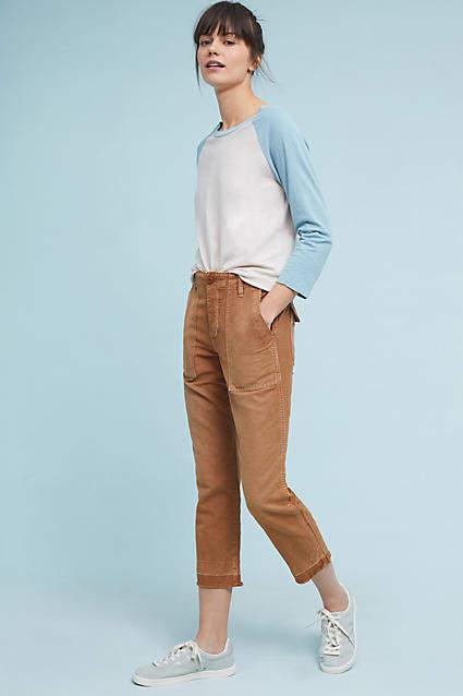 Amo Linen Utility Straight Cropped Pants