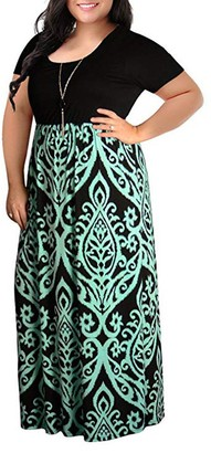 NEEDRA Sales Dresses Womens Party Plus Size Full Size 8-22 S-XXXXXL Gypsy Summer Short Sleeve Plus Size Casual Long Maxi Dress Green