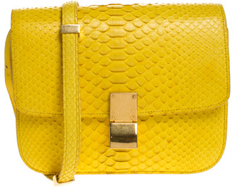 Celine Yellow Python Medium Classic Box Shoulder Bag