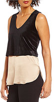 Daniel Cremieux Katie Mixed Media Velvet Sleeveless Blouse