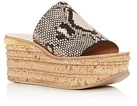 Chloé Women's Camille Snake-Embossed Platform Slide Sandals
