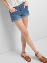 Gap Mid rise denim roll shorts