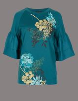 Autograph Floral Print Flute Sleeve T-Shirt