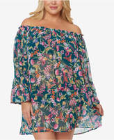 Jessica Simpson Plus Size Printed Off-The-Shoulder Cover-Up Women's Swimsuit