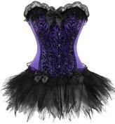 Dawafa Women's Boned Lace Up Corset Satin Overbust Corset With G-string 4X-Large Black