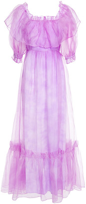 LoveShackFancy Tara Gathered Silk-organza Maxi Dress