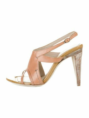 CNC Costume National Leather Ankle Strap Sandals w/ Tags Tan
