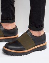 Asos Elastic Shoe In Black Leather Made In England