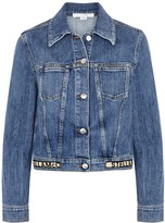 Stella McCartney Blue logo stretch-denim jacket